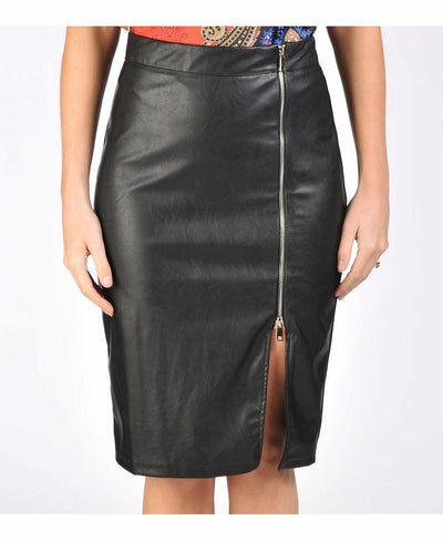 Close-up of the faux leather skirt, showing off the zip detailing.