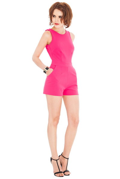 Cerise Open Back Playsuit - Front View
