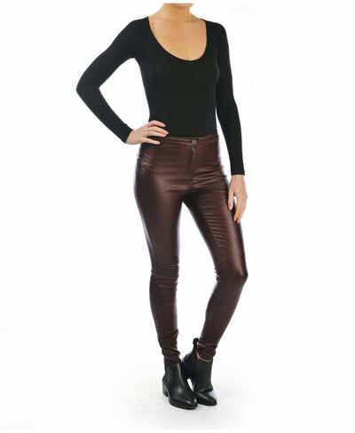 Plum High Waisted Leather Look Skinny Jeans - Front Pose