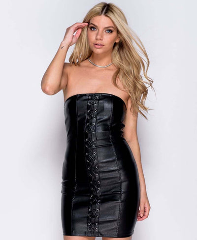 Black PU Leather Lace Up Bodycon Mini Dress Close Front View