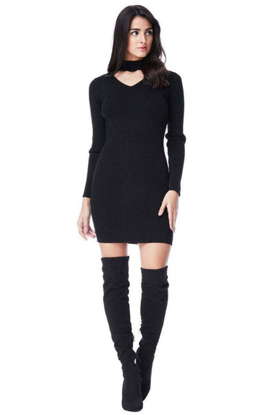 Glitter Mini Choker Neck Jumper Dress in Black - Full Front View