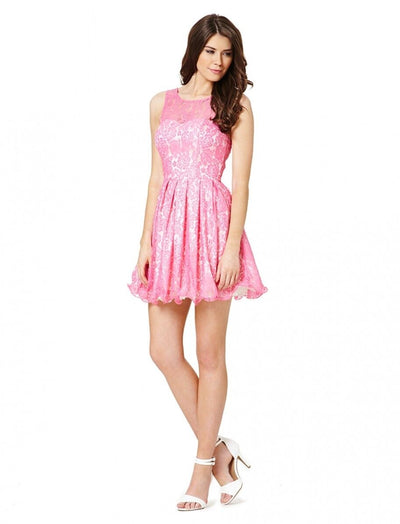 Pink Sleeveless Lace Skater Mini Dress - Front View