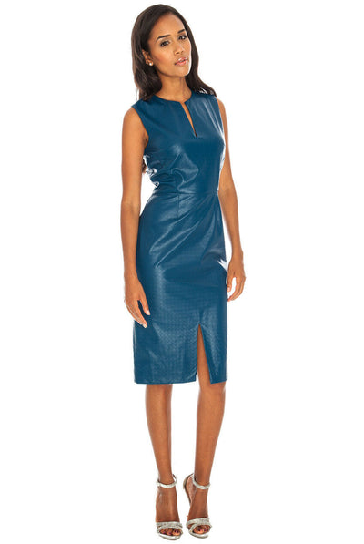 Faux Leather Sleeveless Bodycon Midi Prom Party Dress in Teal, front view