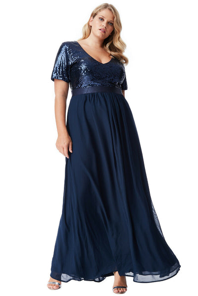 Plus Size Sequin Chiffon Short Sleeved Maxi Dress - Navy Front View