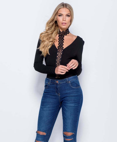 Lace Choker Deep V-Neck Bodysuit in Black - Close Front View