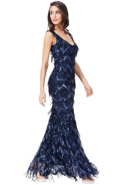 Sequin Flapper Maxi Dress in Navy - Front View