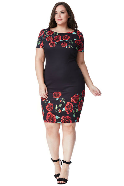 Plus Size Black Rose Print Midi Dress Front View