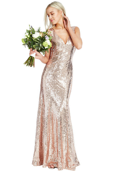 Sequin Sleeveless V-Necked Maxi Dress in Champagne - Full Front View