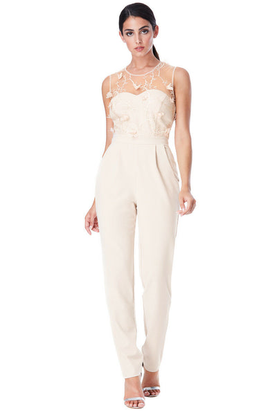 Floral Embroidered Sleeveless Jumpsuit in Stone - Front View