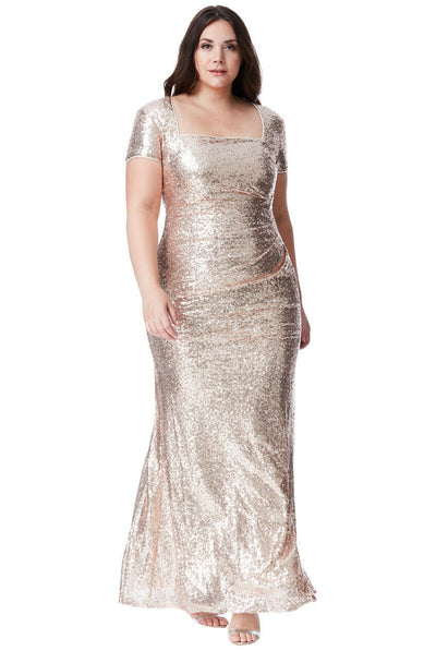 Plus Size Portrait Neck Sequin Maxi Dress in Champagne - Front View