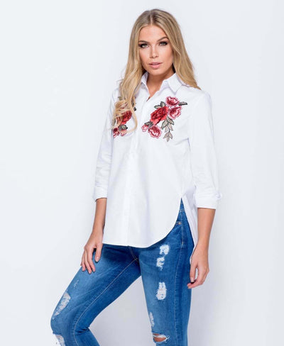 Floral Embroidered Button Front Shirt - View 1