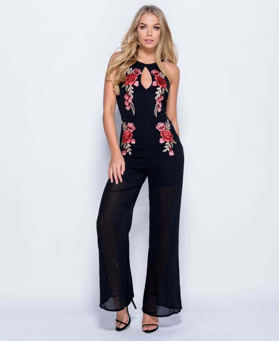 Black Sleeveless Rose Patch Floral Embroidered Jumpsuit - Full Front View