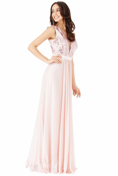Sequin V-Neck Lace & Chiffon Sleeveless Maxi Dress in Nude