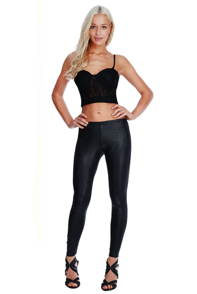 Skinny Leather Look Leggings paired with a black crop top.