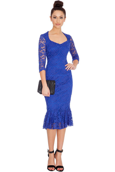Blue Lace-Lined Peplum Hem Fitted Midi Dress - Front View