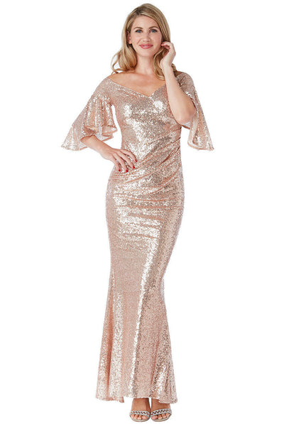 Sequin Off-Shoulder Fluted Sleeve Maxi Dress - Front View