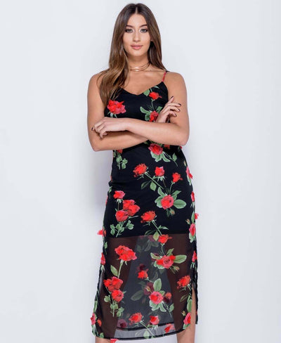 3D Rose Floral Sleeveless Maxi Dress in Black - Close Front View