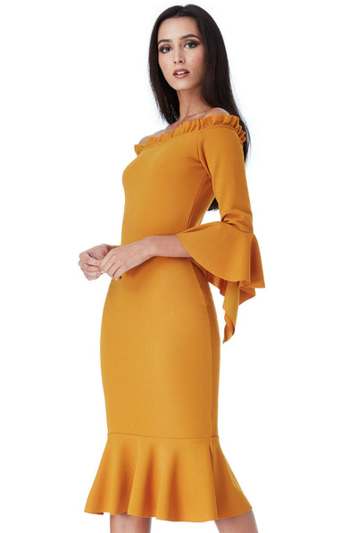 Mustard Bardot With Frill Detail Midi Dress - Close Front View
