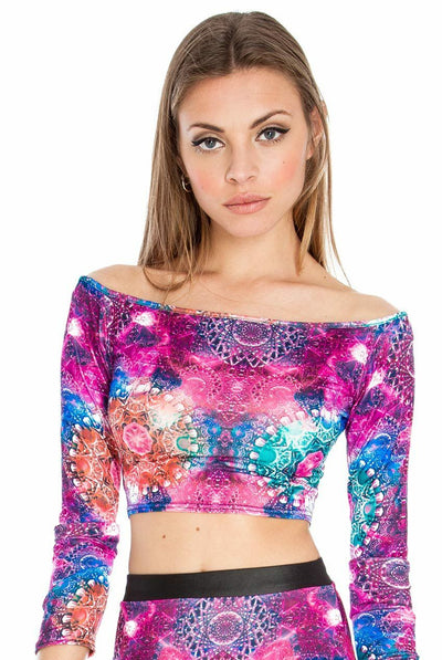 Cosmic Print Off Shoulder Long Sleeve Top - Front View