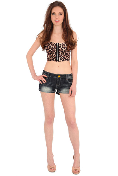 Distressed Detail Faded Denim Hotpants - Front View