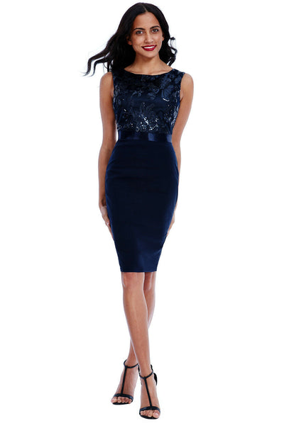 Navy Sequin Embellished Bodycon Midi Dress - Front View
