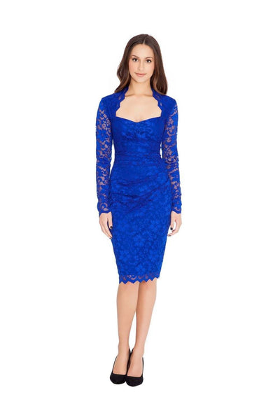 Long Sleeve Scalloped Lace Pencil Midi Dress - Front View