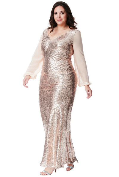 Plus Size Long Chiffon Sleeve Maxi Sequin Dress in Champagne - Front View