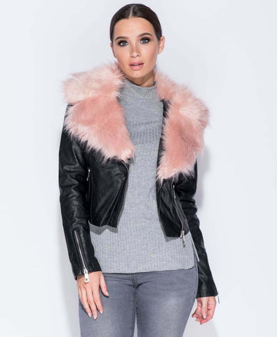 Short PU Leather & Fur Biker Jacket Close Front View