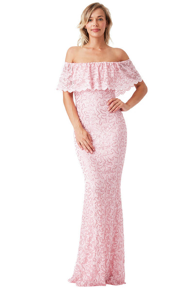 Pink Lace Bardot Bridesmaid Maxi Dress - Front
