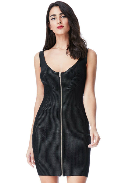 Black Metallic Bodycon dress with zip detail; Little Black Dress