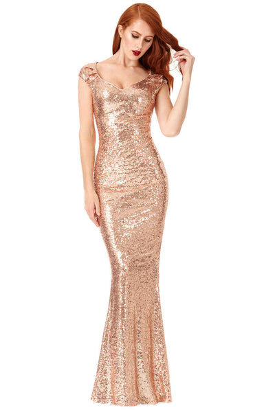 Champagne Sequin Sweetheart Necked Maxi Dress - Front