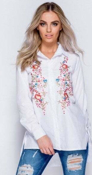 White Floral Embroidered Full Sleeve Shirt - Close Front View