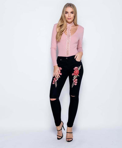 women's black floral ripped jeans with embroidery