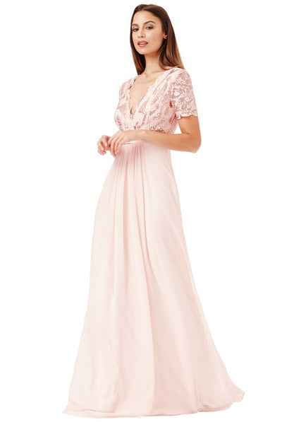 Nude Sequin Short-Sleeve V-Neck Lace & Chiffon Maxi Dress