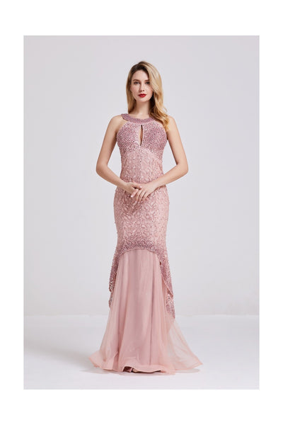 Pink Sleeveless Maxi Dress - Full Front View