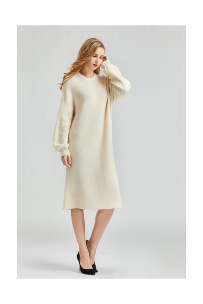 Beige Long Sleeve Sweater Midi Dress - Front View