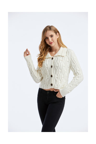 White Long Sleeve Gilet Sweater - Close Front View