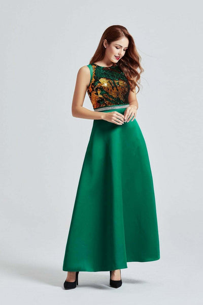 Green Maxi Bi-directional Sequin Dress - Side Pose