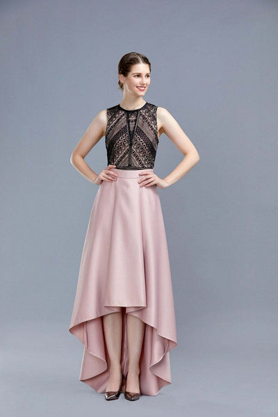 Nude Hi-Lo Frilled Paris Style Long Skirt - Front View