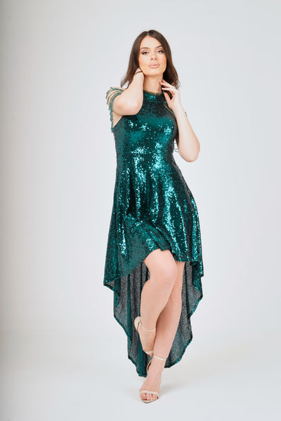 Jewel Shoulder Hi-Lo Sequin Dress - View 1