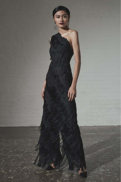The Black Fringed Lace Jumpsuit - Front Glamour View