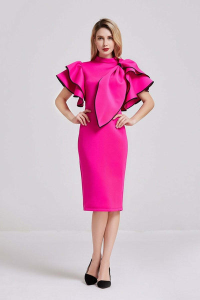Neon Pink Bow Detail Midi Dress - Front View
