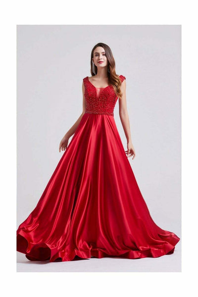 Red Sequinned Bust Maxi Deep V-Neck Dress - Front View