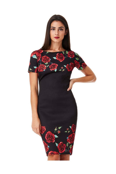 Rose Print Floral Midi Dress - Front View