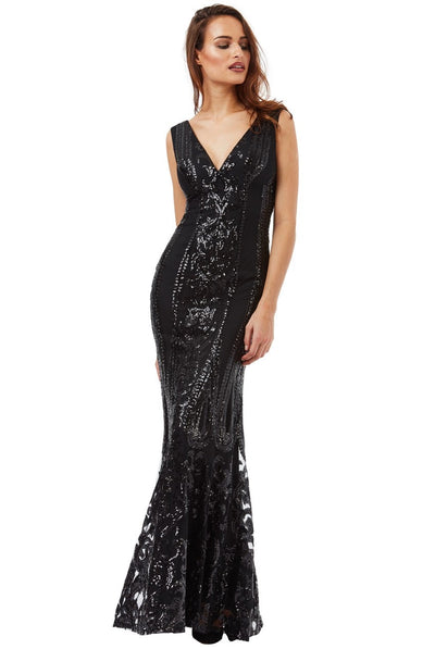 Black Sequin Fishtail Maxi Dress - Front View