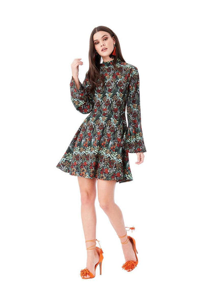Floral Print Smock Mini Dress With High Neck - Front View