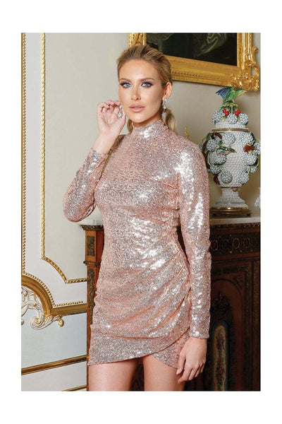 Stephanie Pratt Sequin Long Sleeve Mini Dress - Champagne Front Glamour View