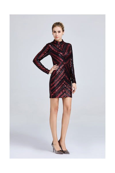 Black & Red Two-tone Mini Bodycon Sequin Dress - Front View