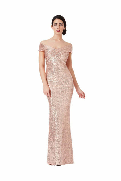 Pleated Neckline Sequin Maxi Dress in Champagne - Front View