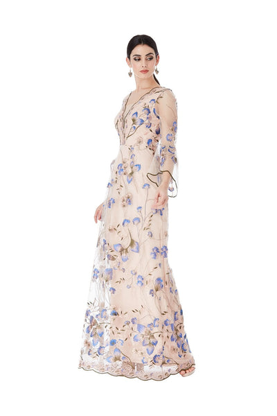 Embroidered Tulle Maxi Dress With Flared Sleeves - Nude Front View